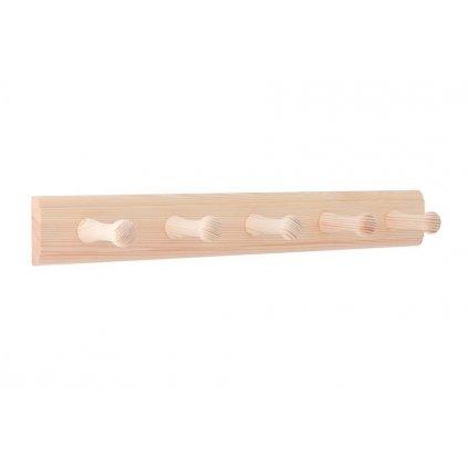 Věšáková lišta 400x50mm, 5 věšáků, borovice