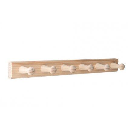 Věšáková lišta 350x35mm, 6 věšáků, borovice