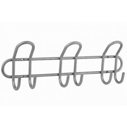 Věšáková lišta šířka 400mm, 3 dvojháky, matný chrom