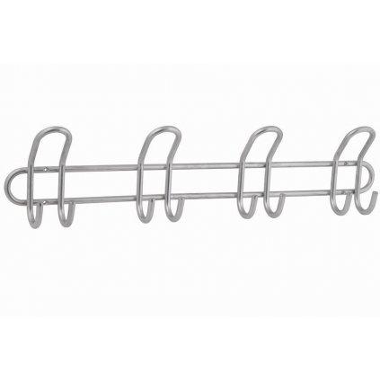 Věšáková lišta šířka 540mm, 4 dvojháky, matný chrom