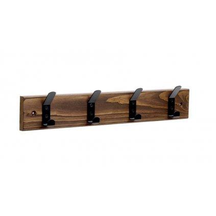 Věšáková lišta 500x80mm, 4 háčky, drásané dřevo, palisandr