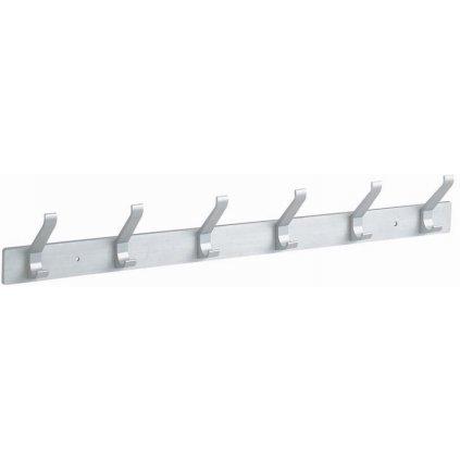 Věšáková lišta 6 háčků, 465m, aluminium elox