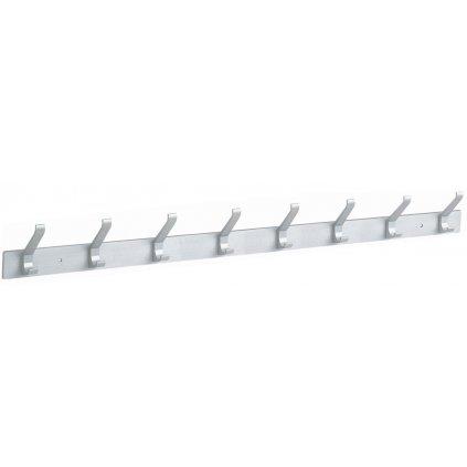Věšáková lišta 8 háčků, 635mm, aluminium elox