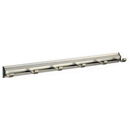 Věšáková lišta 6 háčků, 405mm, aluminium, broušený nikl