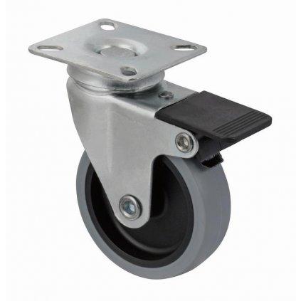 Přístrojové kolečko pro tvrdé podlahy, otočné s brzdou, Ø 75 mm
