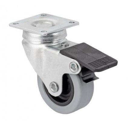 Přístrojové kolečko pro tvrdé podlahy, otočné s brzdou, průměr 50mm, 66x40x86mm