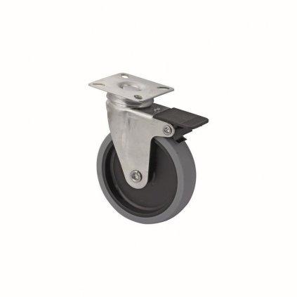 Přístrojové kolečko s plotnou pro tvrdé podlahy, otočné s brzdou, průměr 100 mm
