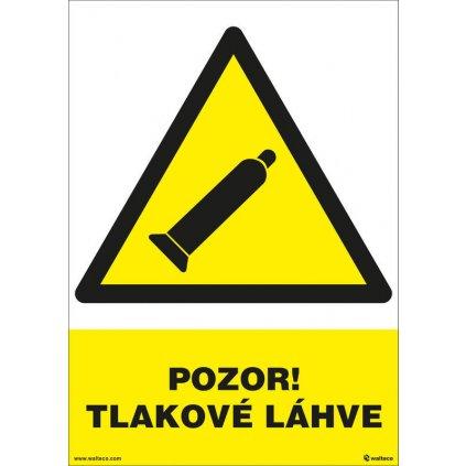 Pozor! Tlakové láhve (žlutá) 210x297mm, formát A4, plastová tabulka