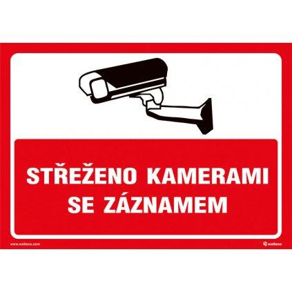 Střeženo kamerami se záznamem (červená), 297x210mm, formát A4, plastová tabulka