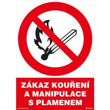 Zákaz kouření a manipulace s plamenem 210x297mm, formát A4, plastová tabulka