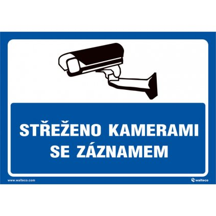 Střeženo kamerami se záznamem (modrá), 210x148mm, formát A5, samolepka