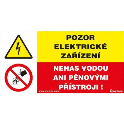 Pozor, elektrické zařízení/Nehas vodou ani pěnovými přístroji, 150x80mm, samolepka