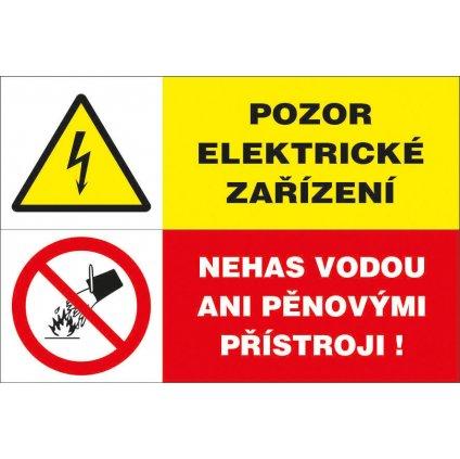 Pozor, elektrické zařízení/Nehas vodou ani pěnovými přístroji, 80x50mm, samolepka