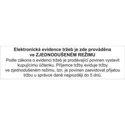 Elektronická evidence tržeb - zjednodušený režim, 150x40mm, samolepka