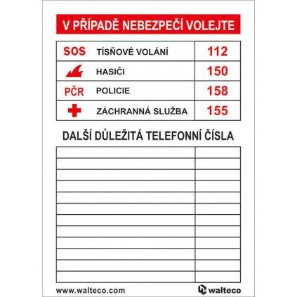 Důležitá telefonní čísla, 70x100mm, samolepka