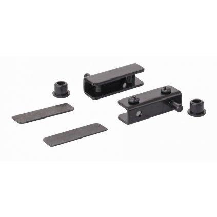 Nábytkový závěs pro skleněná dvířka 40x13,5mm, černý, 1 pár