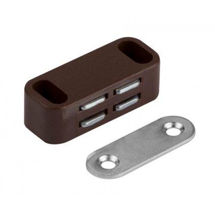 Nábytkový magnet, nosnost 4 kg, hnědý, 2 ks