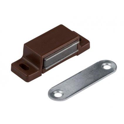 Nábytkový magnet, nosnost 3-4 kg se dvěma otvory pro šroub, hnědý, 2 ks