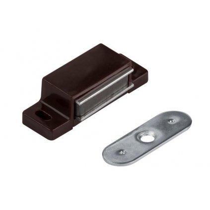Nábytkový magnet, nosnost 3-4 kg s jedním otvorem pro šroub, hnědý, 2 ks