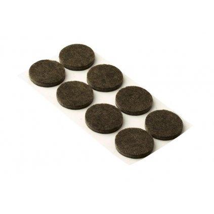 Filcové podložky, průměr 30mm, samolepící, hnědé, 8 ks