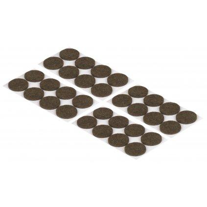 Filcové podložky, průměr 30mm, samolepící, hnědé, 32 ks