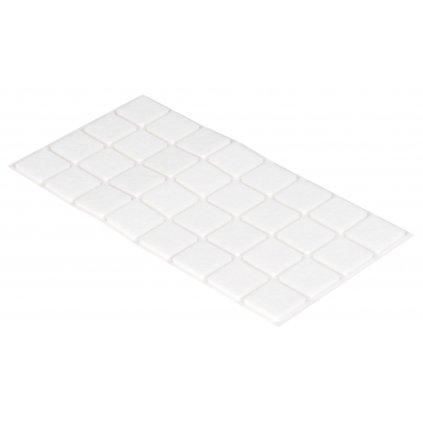 Filcové podložky 25x25mm, samolepící, bílé, 32 ks