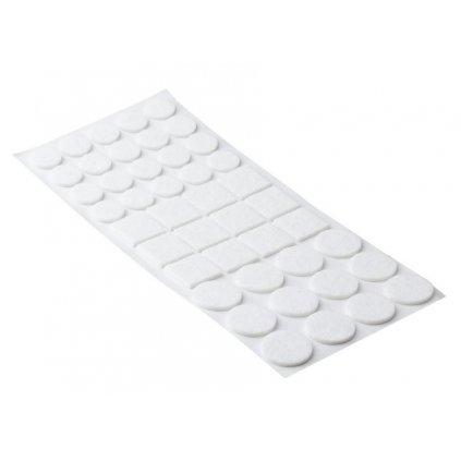 Sada filcových podložek, samolepící, bílá, 44 ks
