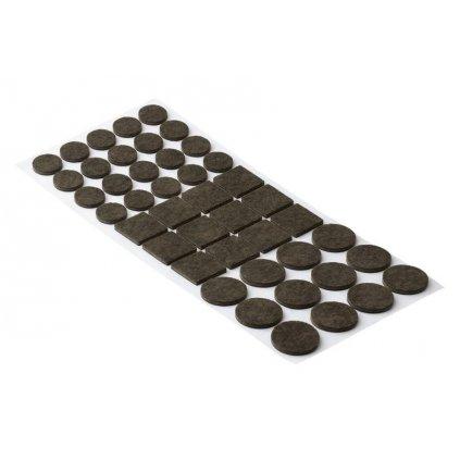 Sada filcových podložek Ø 20mm-20x,  Ø 28mm-12x, 25x25mm-12x, samolepící, hnědé