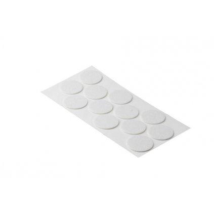 Filcové podložky, průměr 40mm, samolepící, bílé, 12 ks
