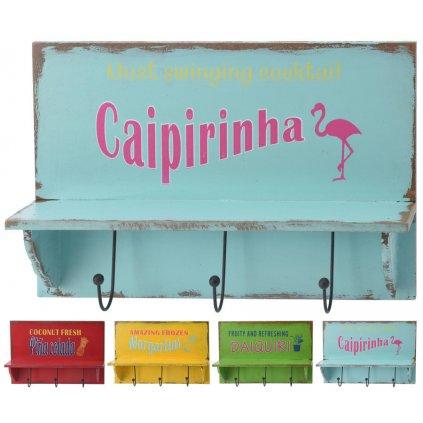 Věšák s poličkou 340x200x55mm, Caipirinha, modrá
