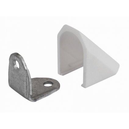 Spojovací úhelník s krytkou, bílý, 2 ks