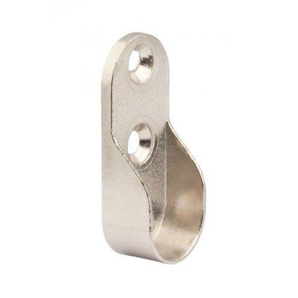 Držák oválné šatní tyče 30x15mm se 3 montážními otvory, poniklovaný, 2 ks