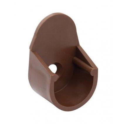 Držák šatní tyče Ø 18mm, plast, hnědý, 2 ks