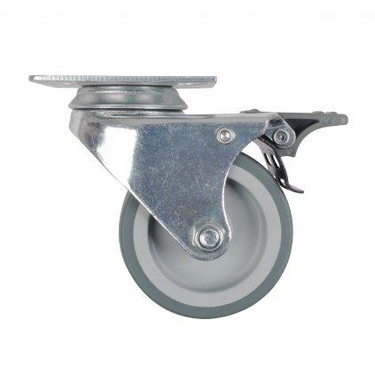 Přístrojové dvojité kolečko Ø 75mm, otočné s destičkou, brzda, nosnost 100kg