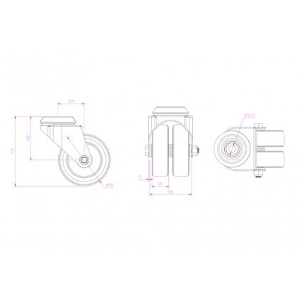 Přístrojové dvojité kolečko Ø 50mm, otočné s otvorem, nosnost 70kg