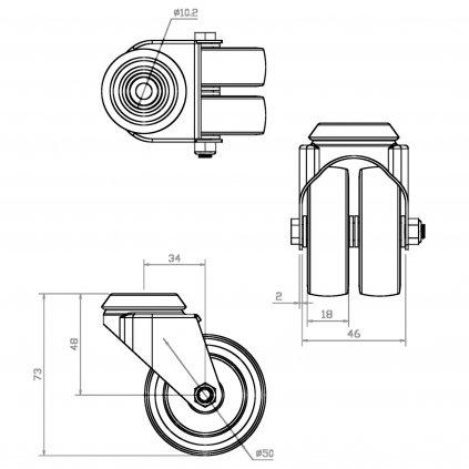 Přístrojové dvojité kolečko, průměr 50mm, otočné s otvorem, nosnost 70kg