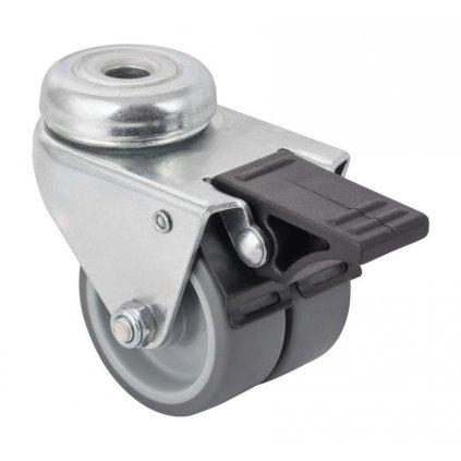 Přístrojové dvojité kolečko Ø 50mm, otočné s otvorem, brzda, nosnost 70kg