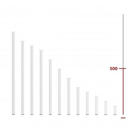 Nábytková noha kulatá, průměr 30mm, výška 500mm, bílá