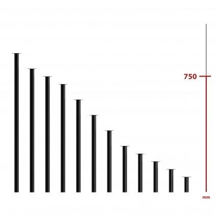 Nábytková noha kulatá, průměr 30mm, výška 750mm, černá
