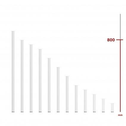 Nábytková noha kulatá, průměr 30mm, výška 800mm, bílá