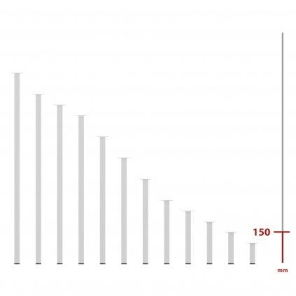 Nábytková noha hranatá 25x25x150mm, bílá