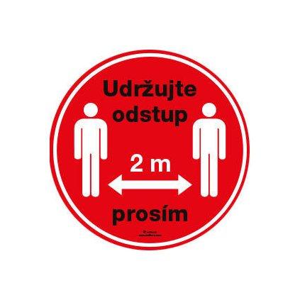 """Samolepka """"Udržujte odstup 2 m prosím"""", průměr 15 cm"""