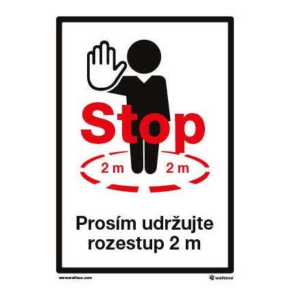 """Samolepka """"STOP - prosím udržujte rozestup 2 m"""", 210 × 297 mm, formát A4"""
