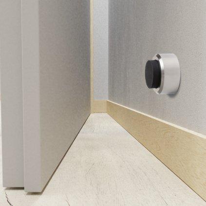 Dveřní zarážka průměr 32x20mm, kartáčovaná nerez