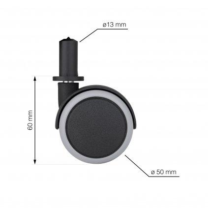 Nábytkové kolečko s čepem, průměr 50 mm, nosnost 30 kg