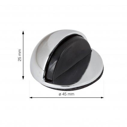 Dveřní zarážka, průměr 45x25mm, chrom