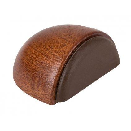Dveřní zarážka 49x38x23mm, dřevo, samolepící+k přišroubování, mahagon