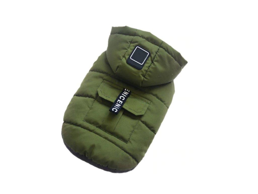 bunda zelena kapuce pro psa