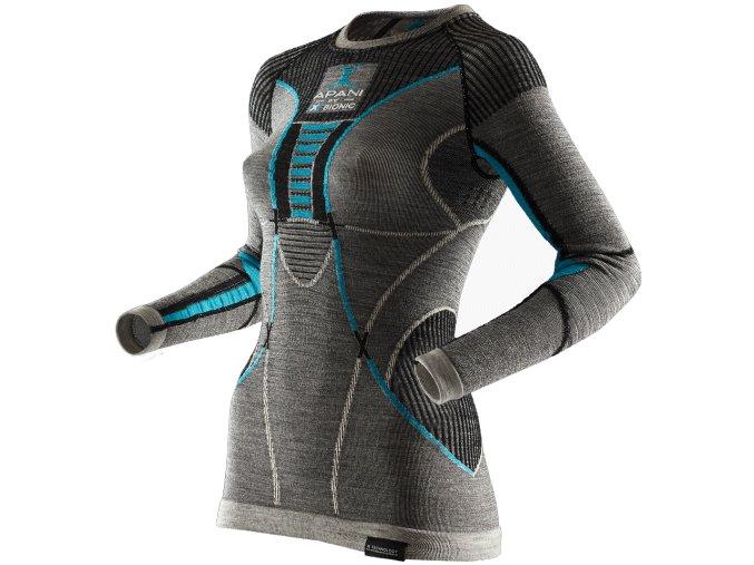 I100467 B284 Apani Merino Shirt Round Neck Long Woman Front 0