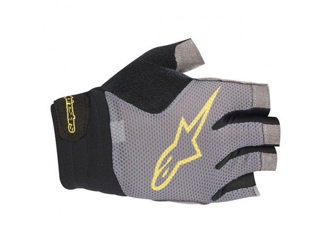 alpinestars 2018 rolling short finger glove steel gray acid yellow